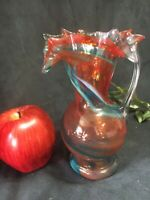 Vintage Smiths Old Timer Hand Blown Art Glass Pitcher Ewer Orange w/ blue Swirl