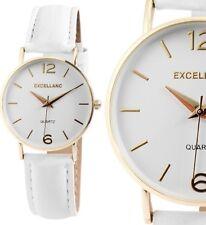Damen Armbanduhr Weiß/Gold Kunstlederarmband von Excellanc