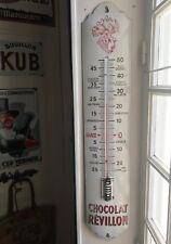 """Plaque émaillée Thermomètre ancien  """"1930""""  REVILLON  96x18cm"""