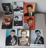 lot autographe de 9 Photos cartes dédicacé des artistes années 60'