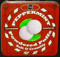 J & M Old-Fashioned Handcrafted Peppermint Powdered Puffs Tin