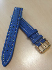 HIrsch Chrono Shark 18mm M Royal Blue Genuine Shark watch strap