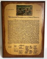 "Declaration of Independence Wood Wall Plaque Vtg Mid Century 9"" X 12"" Patriotic"