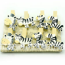 8PCS White Black Zebra Wood Clips Photo Paper Pegs Clothespin Craft Decor 1 Set