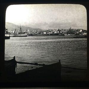 Proud Genoa and Her Harbor, Italy Magic Lantern Slide