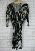 JANE LAMERTON PETITE Dress Sz 10 (12) Black, Gray, White Print