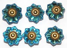 cupboard door knobs Glass light blue flower brass fittings drawer  x 6  FREE P&P