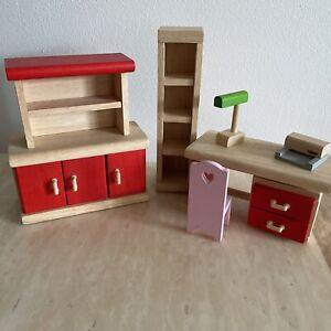 Plan Toys Wooden Doll House Furniture - Home Office / Study Desk Cabinet Bundle