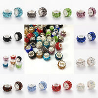 100x Polymer Clay Rhinestone European Large Hole Rondelle Beads Crafts 10~12x7mm