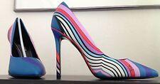 Auth NIB Pucci striped swirl print blue lavender red pumps box bag EU 37 US 7