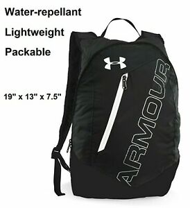 Under Armour UA Packable Black & White Lightweight Backpack Bag for Hiking, Gym