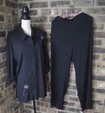 Pride and Joy Women's size 14 Outfit Pants Shirt Set 2 Piece BLACK BF