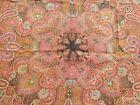 "Gorgeous Handmade 1900's Antique India Kashmir Paisley Shawl 42 x 45"""