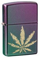 Zippo Marijuana Leaf Iridescent Windproof Pocket Lighter, 49185