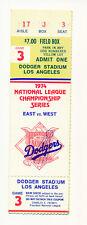 ticket stub 1974 nlcs game 3 Dodgers - Pirates Kison win Stargell hr