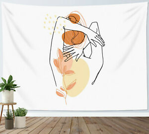 Modern Minimalist Art Tapestry Abstract Girl Leaves Wall Hanging Bedspread Cover