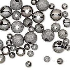 1534 Brass Gun Metal Plated Bead Mix PK50 *UK EBAY SHOP*