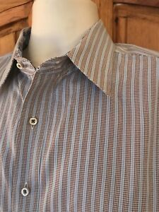ROBERT GRAHAM Blue & Brown Striped Cotton Dress Shirt Size L Large