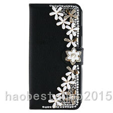 Bling Crystal Diamond Gems PU leather flip slots stand wallet black case cover F