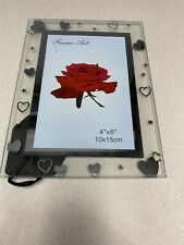 """NEW!! FRAME ART 4"""" X 6"""" GLASS PICTURE FRAME - HEARTS"""