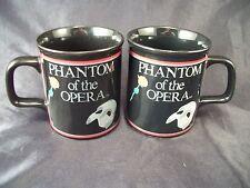 2 Mugs cups Phantom of the Opera musical Broadway Play mask & rose coffee tea