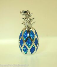15.5mm Hawaiian Rhodium Over Ster Silver Whole Pineapple Man-Made Opal Pendant