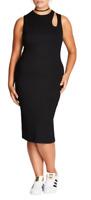 City Chic Women's Plus Black Sleeveless Cutout Peep Bodycon Dress Size 24W