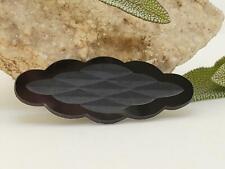 Vintage Shiny Matte Black German Glass Scallop CABOCHONS CAB DIY Jewelry Making