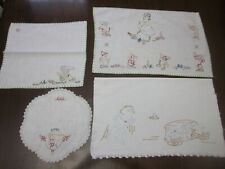 HAND EMBROIDERED SNOW WHITE THEMED DOILEY TRAY CLOTH NAPKIN TOWEL