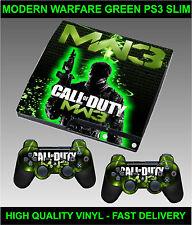 Playstation 3 Slimline Console Sticker Skin COD MW3 Style Green & 2 X Pad Skins