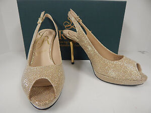 "J. Renee Olive Harlequin Gold Glitter Fabric 4"" Platform Peep Toe Pumps size 8M"