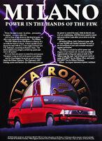 1987 Alfa Romeo Milano pow Classic Advertisement Ad P57