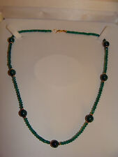 "14K SOLID YG Clasp Green Onyx and Malachite Choker Necklace, 17"" BIN NR SEE PICS"