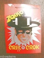 Adesivo sticker vintage ZORRO figurina autoadesiva patatine crik crok vecchio