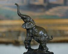 Elephant Bronze Statue W/Marble Base, Signed: Milo
