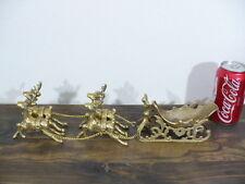 "Christmas solid Brass 4 reindeers pulling Santa's Brass Sleigh 16"" long"