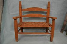 """Vintage Wood DOLL Chair Splint Style Woven Seat Wooden 13"""" Bench"""