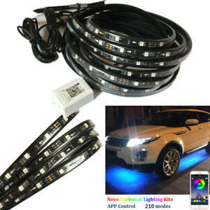 4x Car Chassis Neon Light LED Strip 210 kinds APP Control Patterns Sound Active