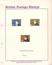 British Postage Stamps Literary Anniversaries 1971 Specimens & post office photo