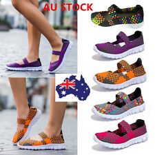 Women Slip On Elastic Flat Shoes Breathable Casual Sandals Walk Sneakers AU 2-7