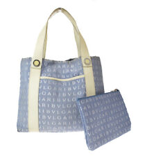 Authentic BVLGARI LOGO MANIA Hand Tote Bag Canvas Leather Blue Italy 08EW960