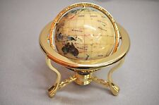 Mother Of Pearl 3 Legged Table Stand Gemstone Globe with Compass