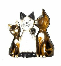 Decorative Wooden Cats Kissing Figurines Statue Sculpture Cat Lover Gift 5x5�
