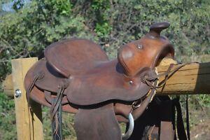 """Horse Saddle- Western,Antique,Heiser-Keyston-Lichtenberger-15"""" Trail-Ranch"""
