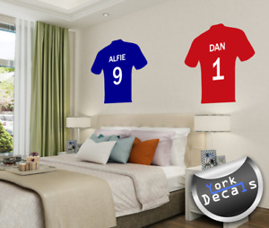 Personalised, Football Top, Shirt Sticker, Wall Art Decal, Any Name & Number