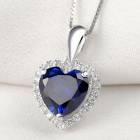 "Heart Blue Sapphire White Topaz 925 Sterling Silver Pendant 18"" Chain Necklace"