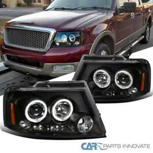 For 04-08 Ford F150 06-08 Lincoln Mark LT LED Halo Projector Black Headlights