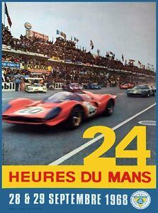 1968 24 Hours Le Mans French Automobile Race Advertisement Vintage Poster