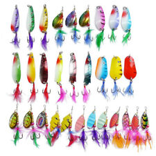 30pcs Metal Fishing Lure Spinners Spoon Bait With Beads Feather Fishing Lures
