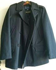 Nautica Men's Double Breasted Wool Blend Peacoat Black Size S Military Navy
